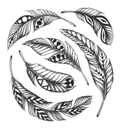 Black-on-white feather shaman circle ornament vector