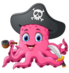 Cartoon pirate octopus vector image vector image