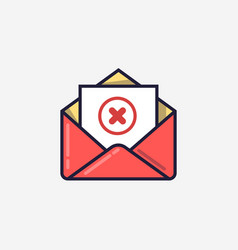 opened envelope and document with red x mark line vector image vector image
