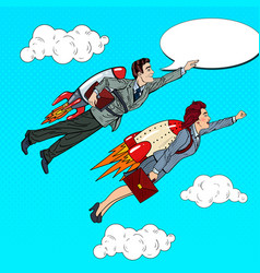 pop art business people flying on rockets vector image vector image