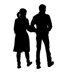 silhouette of a girl and a young man walking vector image