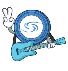 With guitar syscoin mascot cartoon style vector