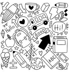 08-09-080 hand drawn set school icons vector