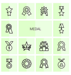 14 medal icons vector