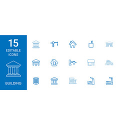 15 building icons vector