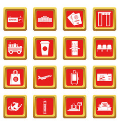 airport icons set red vector image