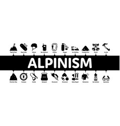 Alpinism minimal infographic banner vector