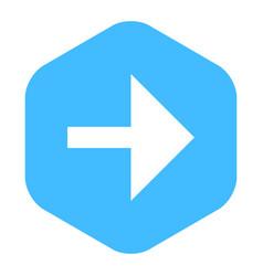 arrow sign flat hexagon icon vector image