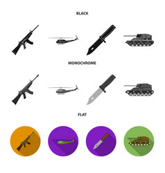 Assault rifle m16 helicopter tank combat knife vector