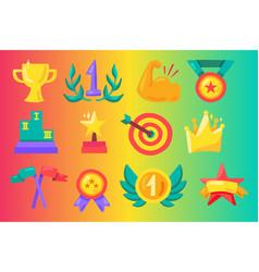 awards flat set vector image