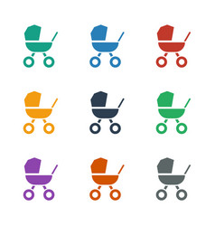 Baby stroller icon white background vector