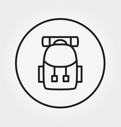 Backpack for hiking icon editable thin vector