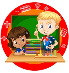 Boy and girl with abacus vector