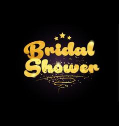 Bridal shower star golden color word text logo vector