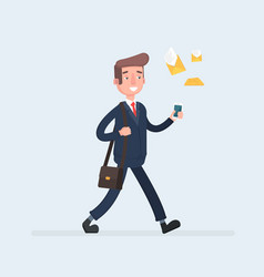 businessman walk with a smartphone in hand and vector image