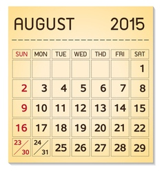 calendar 2015 08 August vector image
