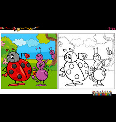 Cartoon ant and ladybug insects coloring book page vector
