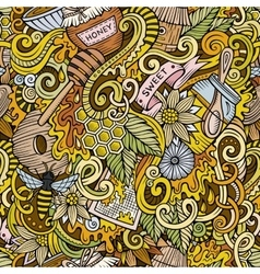 Cartoon cute doodles hand drawn Honey seamless vector image