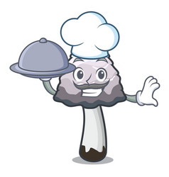 Chef with food shaggy mane mushroom mascot cartoon vector
