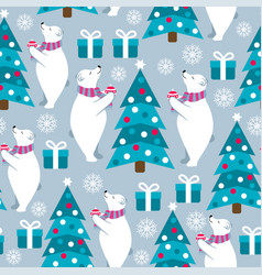 Christmas seamless pattern with polar bears and vector