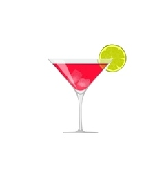 cocktail icon glass cold beverage lime vector image