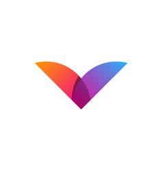 Color letter v logo icon design vector