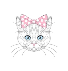 Cute cat portrait with pin up bow tie on head Hand vector image