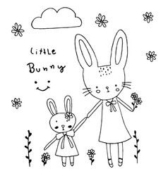 cute little bunny hold hand together design vector image