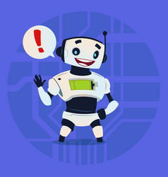 cute robot happy showing message modern artificial vector image