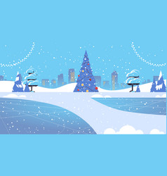 decorated fir tree in snowy park merry christmas vector image
