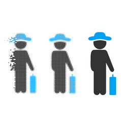 Dispersed pixel halftone gentleman baggage icon vector