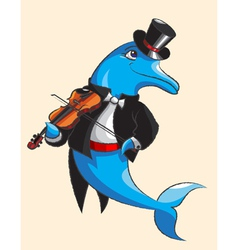 Dolphin and violin vector image