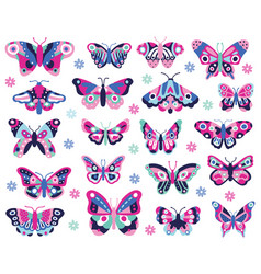 doodle butterflies insect hand drawn spring vector image