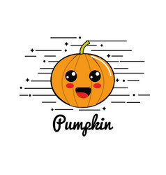 Emblem kawaii shy pumpkin vegetable icon vector