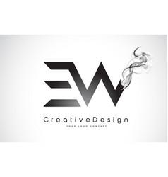 Ew letter logo design with black smoke vector