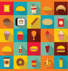 Fast food icons set flat style vector