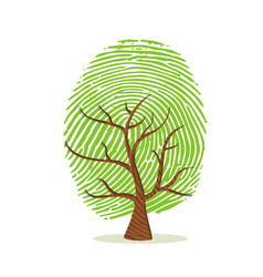 Fingerprint tree of green human finger print vector
