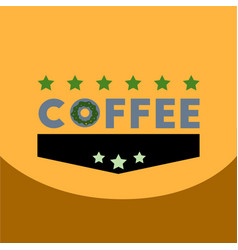 Flat icon design collection coffee emblem with vector