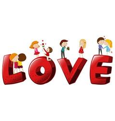 Font design for word love vector image