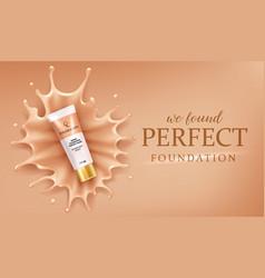 Foundation splash drops makeup advertising design vector