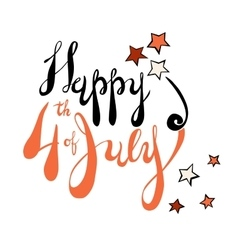 Fourth of July Lettering in black and orange vector