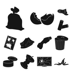 garbage and waste black icons in set collection vector image