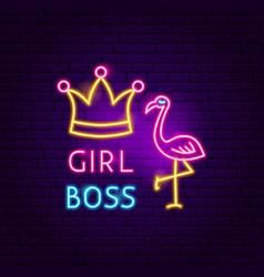 Girl boss neon sign vector