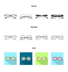 Glasses and frame icon set vector