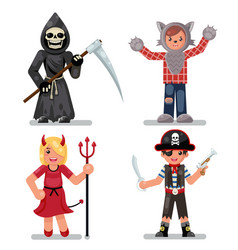 Halloween costume children masquerade party kids vector