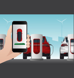 hand with phone on a background of electric car vector image