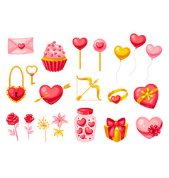 happy valentine day set vector image