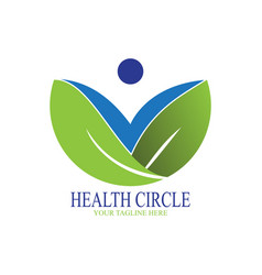 healthy circle logo with abstract people vector image