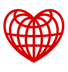 heart of globe icon simple style vector image