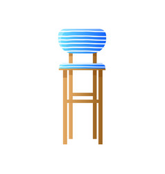 high wooden upholstered chair in stripped blue vector image